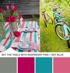 Raspberry Pink and Blue