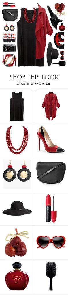 """red black with hat"" by tinkertot ❤ liked on Polyvore featuring Monki, Chico's, Topshop, H&M, Revlon, Pier 1 Imports, ZeroUV, Christian Dior and GHD"