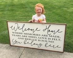 welcome home - where memories are made, tears are shed, love is felt, and refuge is found - you belong here wood sign farmhouse decor. Home Decor Signs Sayings Home Decor Signs, Diy Signs, Diy Home Decor, Welcome Home Signs, Up House, Unique Wall Decor, Pallet Signs, Diy Pallet, Pallet Wood