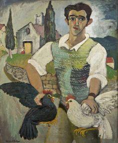 Gerard Dillon – Italian with Fowl, 1948; Oil on board, 60x50 cm