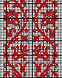 chart - needlework or filet crochet Cross Stitch Borders, Cross Stitch Flowers, Cross Stitch Kits, Cross Stitching, Cross Stitch Embroidery, Hand Embroidery, Cross Stitch Patterns, Filet Crochet, Crochet Motif