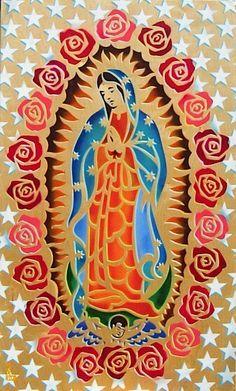 Laser-cut-multi-colored Virgen