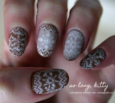 Sweater inspired Konadicure by solongkitty konad nails manicure winter fall   (I have these plates or similar)