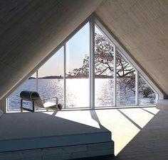 The Sun House prefab - Finland. Interior Architecture, Interior And Exterior, Interior Design, Sun House, Modern Prefab Homes, A Frame House, My Dream Home, Future House, Beautiful Homes