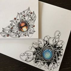 #zentangle #zentangleinspiredart #zengems #gems #giftcards #pattern #penart #coloredpencil #workshop #ゼンタングル #ギフトカード #宝石 #ワークショップ #リラクゼーション… Zentangle Drawings, Zentangle Patterns, Zentangles, Colored Pencil Artwork, Color Pencil Art, Organic Tattoo, Botanical Line Drawing, Unique Drawings, Maori Art
