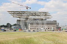 Construction of the new harbour offices In the port of Antwerp.Designed by Zaha Hadid Architects.