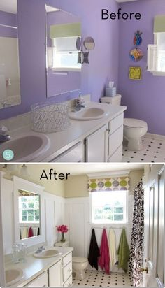 Updating is as simple as a change in wall cover, mirror, fixtures and a window treatment.  Notice in this picture that the cabinets, counters, sink, toilet and floor are all the same! Inexpensive.  One day job.  Just call a handyman if you need some help and get ready to enjoy!