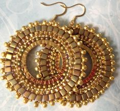 Beadwork Hoop Earrings  GOLDEN GODDESS Seed Bead by WorkofHeart