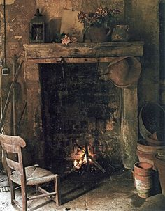 hearth and home ... old cottage fireplace is the perfect size.=Reminds me of my childhood.