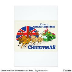 "Greeting card with a retro style illustration of Santa Claus riding on a double-decker bus with reindeer and the union jack flag with the words ""Have a Great British Christmas. Father Christmas, Retro Christmas, Christmas Gifts, Jack Flag, Double Decker Bus, Saint Nicholas, Santa And Reindeer, Great British, Union Jack"