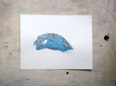 blue hand original illustration  wall art in watercolors  by vumap