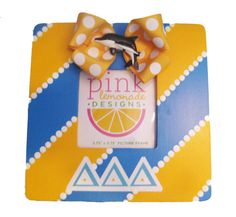 yellow and blue tri delta picture frame with bow and dolphin