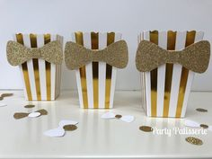 Gold and White metallic-look stripe Bowtie Popcorn Boxes,Wedding, Bachelorette, Corporate events,births, birthday party