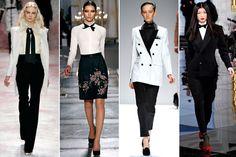 Tuxedo Dressing  The white shirt, black bottom, and black neckpiece never looked so femme-fatale as on the fall '11 runways.     Prabal Gurung, Jason Wu, Yigal Azrouel, Ralph Lauren, all images via Style.com.