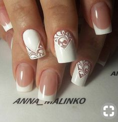 Let yourself be inspired by these nail art designs, the wedding day is one of the best . French Manicure Nails, French Tip Nails, Diy Nail Designs, Acrylic Nail Designs, Cute Nails, Pretty Nails, Lace Wedding Nails, Bridal Nail Art, Latest Nail Art
