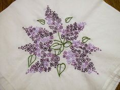 Hand Embroidered Dish Towel Purple lilacs by VintagePlusCrafts, $8.00