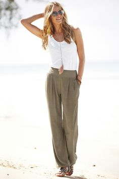 Shannon Click...super comfy outfit. Olive linen pants and white loose tank