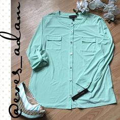 Mint Button Down Blouse This adorable brand new with tags button down blouse is perfect for spring. Has sleeves that can be worn as long sleeves or rolled up and buttoned to create a 3/4 sleeve look. Has gorgeous silver tone buttons with a soft luxurious lightweight material. Beautiful mint color! Dana Buchman Tops Blouses