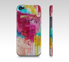 God is Love- iPhone 4 4S or 5 5S 5C Hard Case Beautiful Magenta Hot Pink Turquoise Christian Rainy Clouds Abstract Scripture Biblical Verse