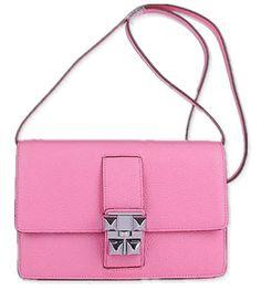 Pink Leather Shoulder Bag with Silver Hardware by Hermes