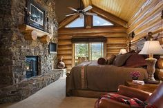 Log Home Bedroom. Yep, pretty much our dream bedroom! Log Home Bedroom, Log Cabin Bedrooms, Log Cabin Homes, Dream Bedroom, Log Cabins, Bedroom Fireplace, Stove Fireplace, Cozy Bedroom, Diy Balkon