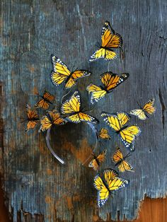 Canary Yellow Monarch Butterfly Fascinator by VivaDelfina on Etsy