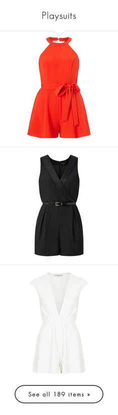 """""""Playsuits"""" by giovanna1995 ❤ liked on Polyvore featuring playsuit, jumpsuits, rompers, dresses, jumpsuits and rompers, petite, short sleeve jumpsuit, red petite jumpsuit, red jumpsuits and red halter jumpsuit"""