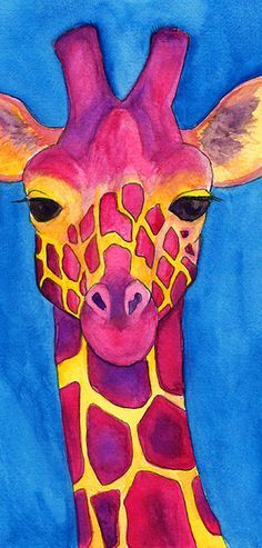 Magenta Giraffe Watercolor Painting Giclee Print.