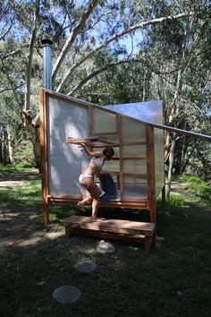 Saunas, Glamping, Prefabricated Structures, Building A Sauna, Outdoor Sauna, Outdoor Toilet, Sauna Design, Design Design, Sauna Room