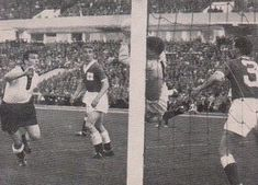 W. Germany 2 N. Ireland 2 in 1958 in Malmo. Harry Gregg makes a fine save from Hans Schafer in Group 1 at the World Cup Finals.