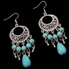 Charming Turquoise Silver Dangle Chandelier Earrings Party Dancing Gift Costume #Fashionjewelry #DropDangle