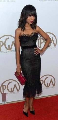Celebrity Style: Fab Fashion Inspiration. Celebrity Style: Fab Fashion Inspiration. Actress Kerry Washington in a black lace Marchesa dress with red clutch.