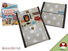 Pixibuchhülle Safari mit Punkten aus Wachstuch  von Wunschkind auf DaWanda.com
