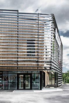 Dalarna Media Library by Adept World Architecture Festival, Facade Architecture, Contemporary Architecture, Amazing Architecture, Modern Buildings, Beautiful Buildings, Modern Library, Building Exterior, Facade House