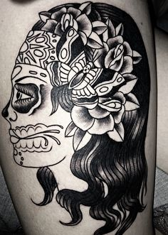 Sugar skull tattoo.  Leg tattoo.  Girl tattoo. Outline.