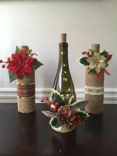 Wine Bottle Crafts – Make the Best Use of Your Wine Bottles – Drinks Paradise Wine Bottle Centerpieces, Christmas Centerpieces, Xmas Decorations, Wine Bottle Decorations, Table Centerpieces, Painted Wine Bottles, Lighted Wine Bottles, Decorated Wine Bottles, Vintage Bottles