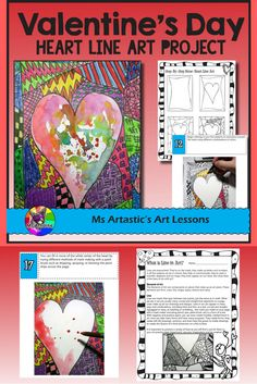 "Students will learn about the Element of Art ""Line"" through creating a Valentine's Day art piece using pencil crayon and paint. Your students will really love this! This product is complete with a visual and text step-by-step (each step on its own page with description), a rubric for marking, a handout about ""What Is Line"" that describes line as an Element of Art and how it's used, and a step-by-step how to draw the heart to allow your students to create this piece successfully! This also…"