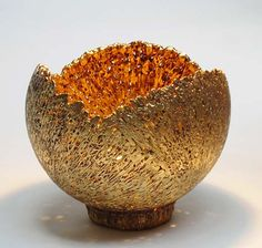 Ceramics by Barry Guppy (1937-2013) at Studiopottery.co.uk - 2012. Gold luster-ed triple centred bowl, spun semi-porcelain, height; 22cms. diameter 24 cms. Post and packing extra.