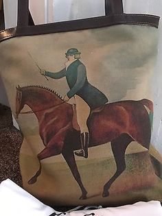 09a7f5cf78a GiGi New York Tote Bag With Equestrian Horse Design Canvas And Leather