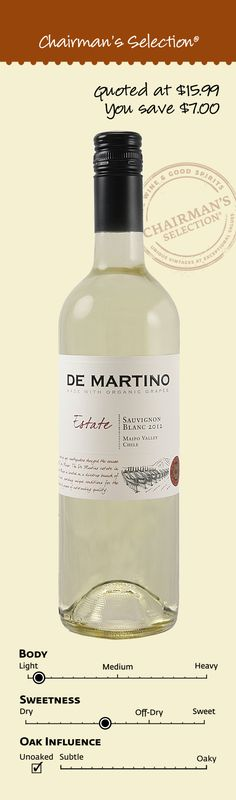 "De Martino Estate Sauvignon Blanc, Maipo Valley, Chile, 2012: ""This estate Sauvignon Blanc is made with organic grapes and the bottle and packaging are made from recycled materials…This Sauvignon Blanc is bursting with citrus aromas accented by herbal notes…A smooth, easy-drinking wine intended to be enjoyed in its youth: De Martino organic Estate Sauvignon Blanc can stand on its own as an aperitif or complement lighter fare nicely."" – Winemaker's notes, $8.99"