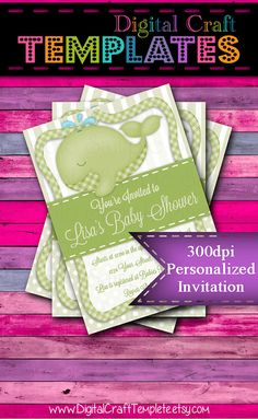 Personalized Printable Invitations | Green Whale | Baby Shower | Birth Announcement |  #321