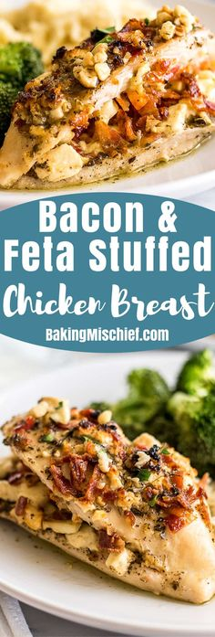 Bacon and Feta Stuffed Chicken Breast is the perfect dish when you want something a little extra special for dinner. | Dinner for Two | Easy Chicken Recipes |