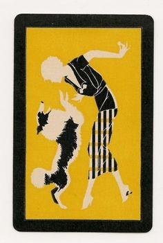 Swap-Playing-Cards-1-single-Deco-Lady-with-Collie-Dog