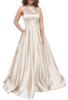 a5b4eebdca0 NAME YOUR OWN PRICE -Women s Halter A-line Beaded Satin Evening Prom Dress  Long Formal Gown with Pockets