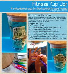Fitness Tip Jar! #GiftIdea & A way to motivate yourself to keep working hard to reach your goals WHILE saving up money to reward yourself!
