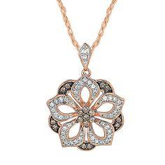 1/3 ct. tw. Sparkling Champagne™ & White Diamond Pendant in 10K Rose Gold