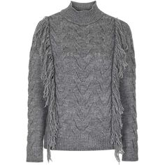 TOPSHOP Fringe Cable Jumper ($69) ❤ liked on Polyvore featuring tops, sweaters, charcoal, chunky cable sweater, jumpers sweaters, fringe sweater, funnel neck sweater and cable knit sweater