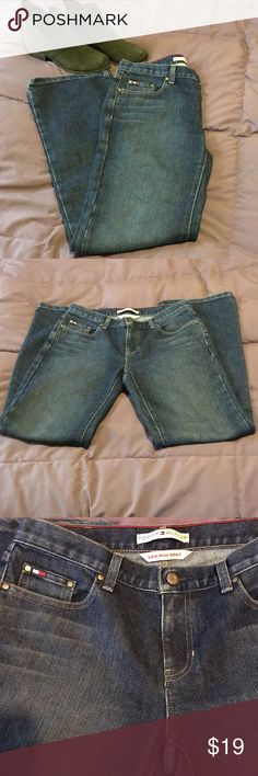 "Tommy Hilfiger Low Rise Boot Cut Jeans Super cute Tommy Hilfiger Low Rise Boot Cut Jeans Sz 8.  66% Cotton 34% Polyester. Approximate measurements are Inseam 31"", Length 40"", Waist 16"", Rise 9"". Tommy Hilfiger Jeans Boot Cut"