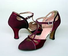 Raspberry satin shoes trimmed with rhinestones by Vionne of Brooklyn, NY, 1930s. (Elise Morenon, 2000.130.99-A-B)