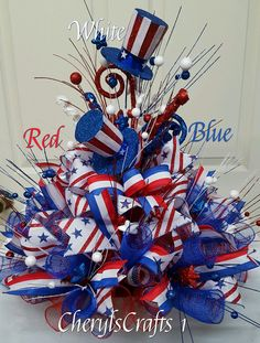 Red white blue centerpiece,patriotic centerpiece,july tablepiece,independence day centerpiece,labor day decor by on etsy Fourth Of July Decor, 4th Of July Party, July 4th, 4th Of July Wreath, Patriotic Wreath, Patriotic Crafts, July Crafts, Flag Wreath, Patriotic Party